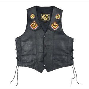 UNIK Women's Leather Vest Motorcycle Beaded Riding